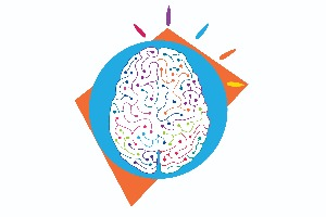 Cognitive Neuroscience Institute logo of brain with blue circle and square orange background.